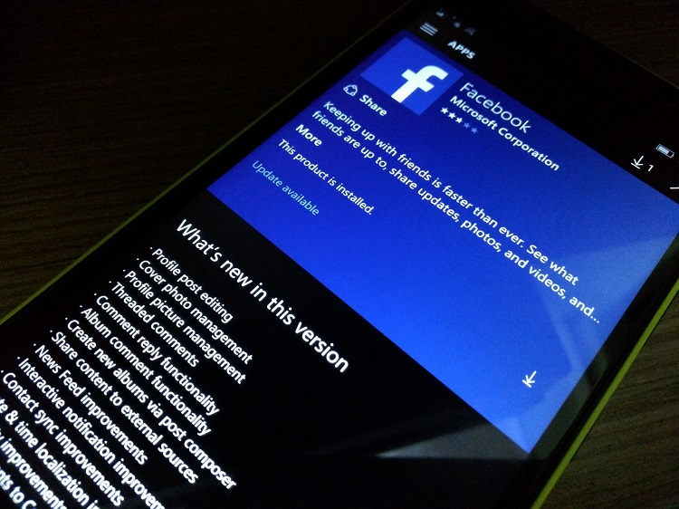 Facebook's Windows Phone app updated with many new, exciting