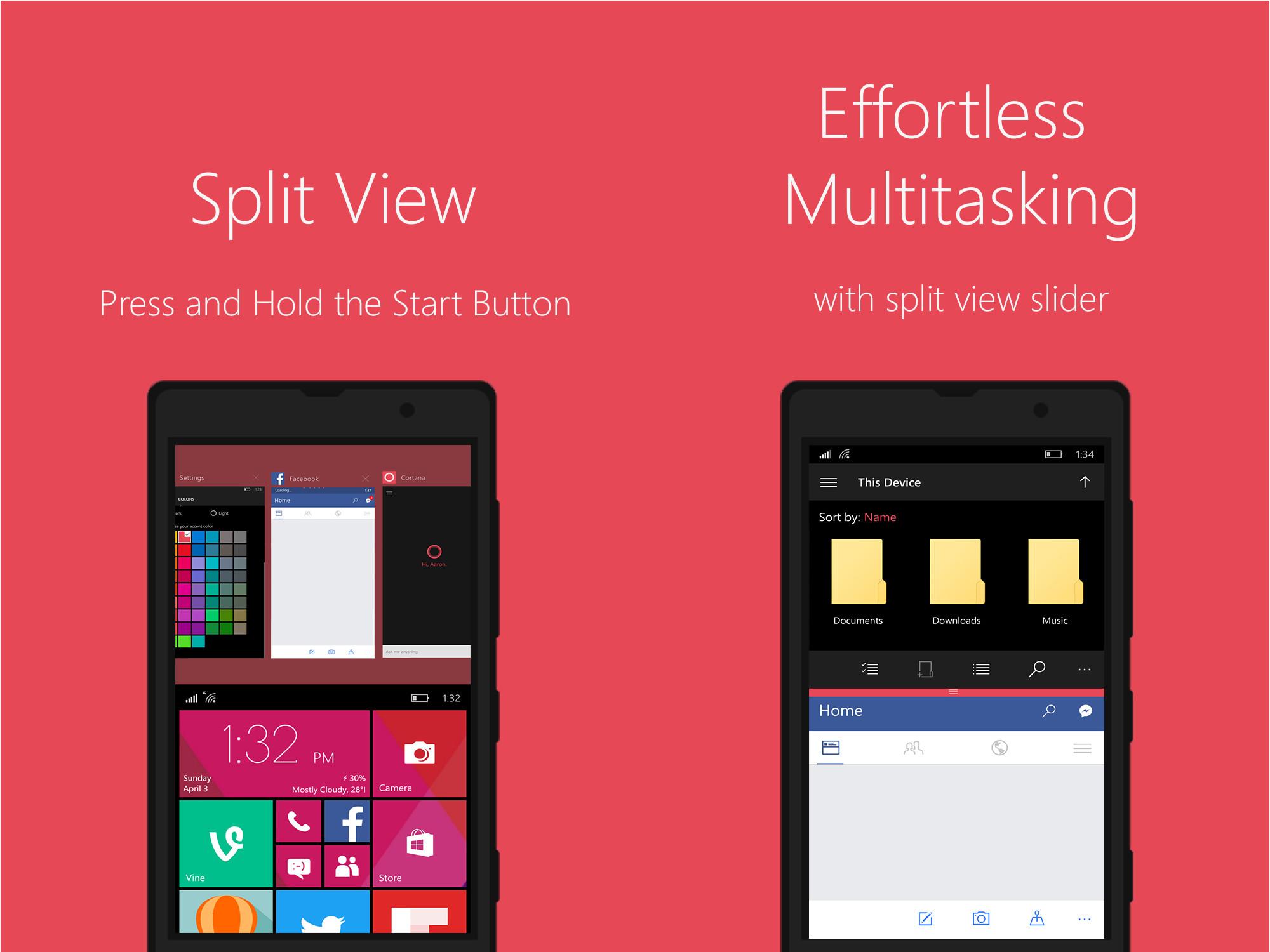 new windows 10 mobile concept shows split screen