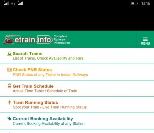 Etraininfo running status