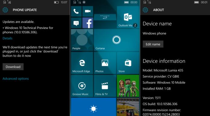 Windows 10 Mobile Build 10586.306 screenshots