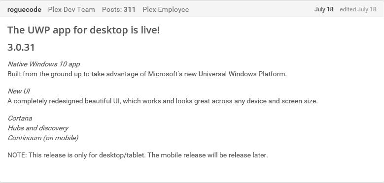 Plex announcement Windows 10