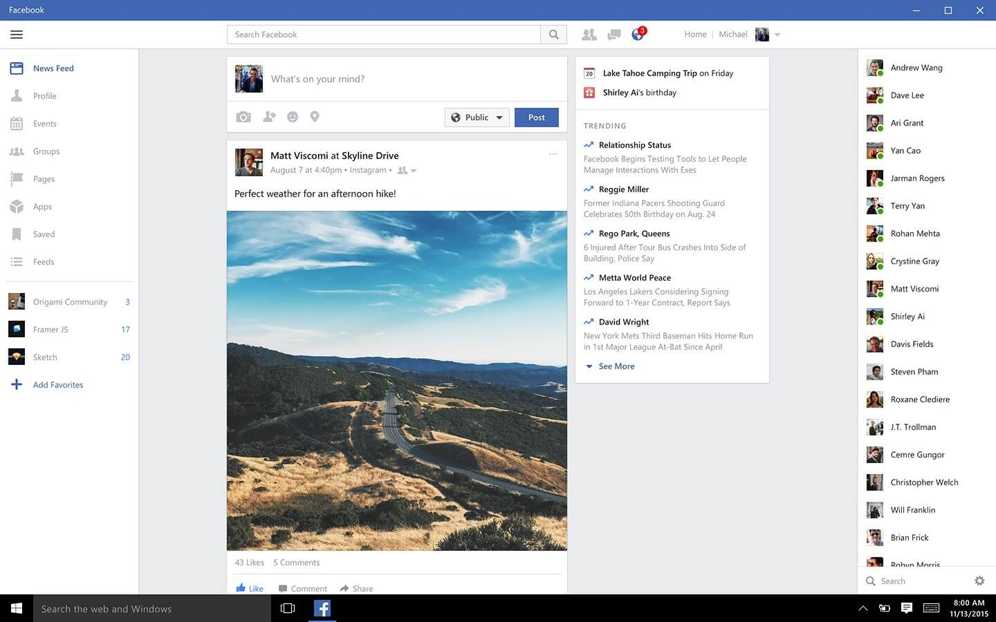 Facebook app updated for Windows 10