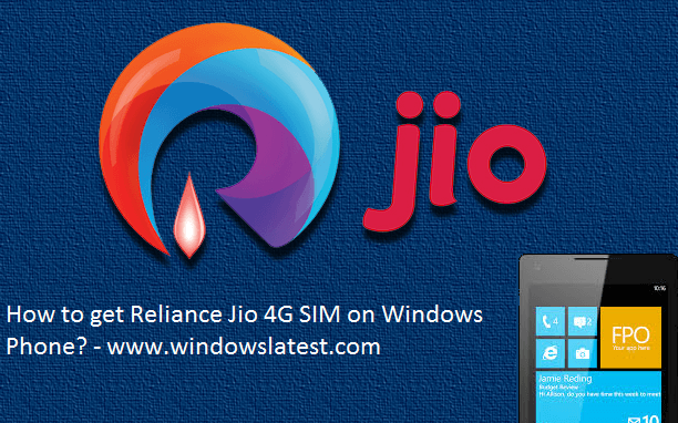 Reliance Jio 4G SIM on Windows Phone