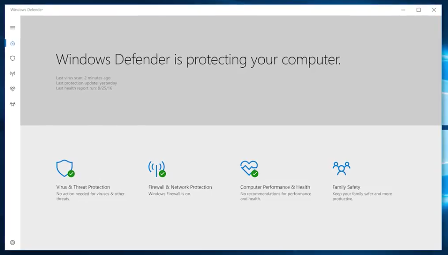 Windows defender hub app for windows 10 pc and tablet now for Latest windows