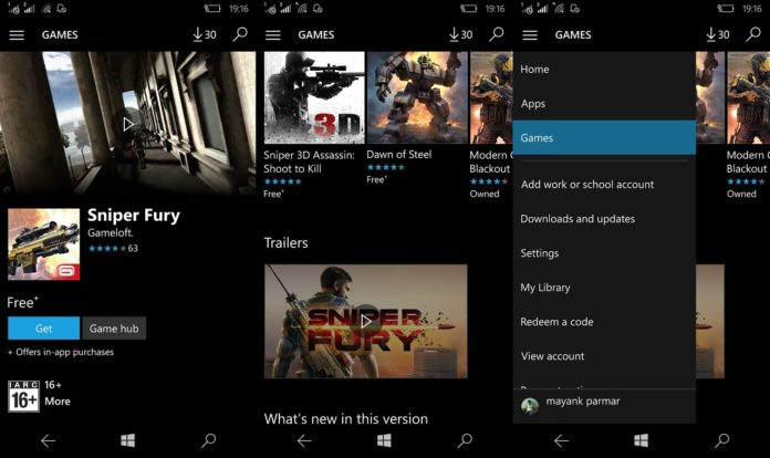 windows store for windows 10 mobile video trailers