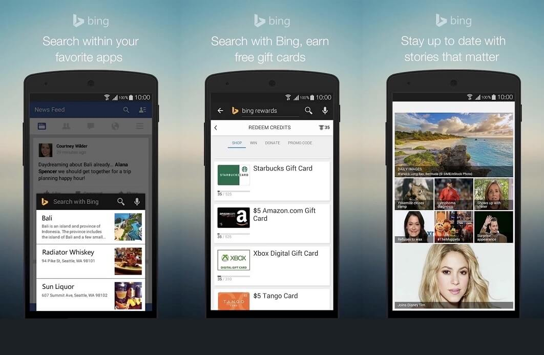 bing search app updated for android with new features