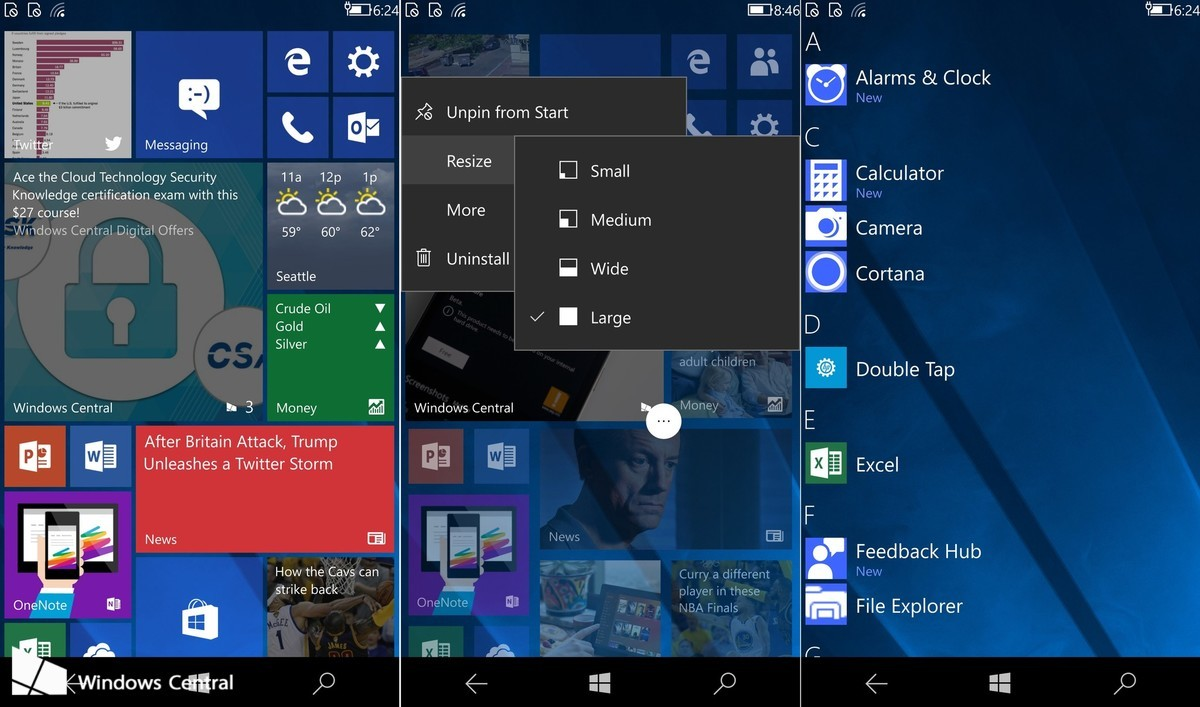 Microsoft 39 s new cshell ui for windows 10 mobile leaks in a for Latest microsoft windows