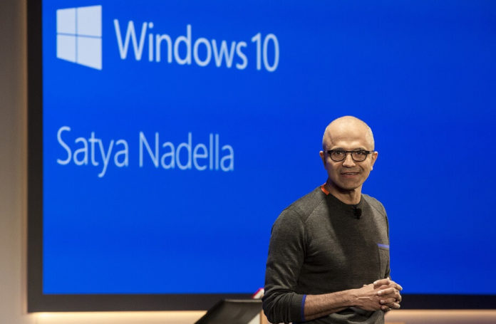 Satya Nadella in Windows 10 bg
