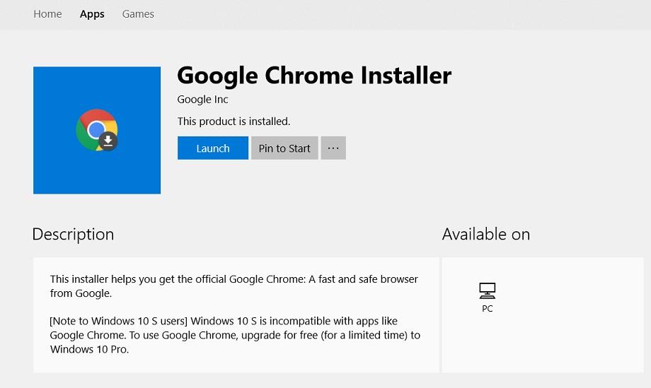 Google brings Chrome Installer to Microsoft Store