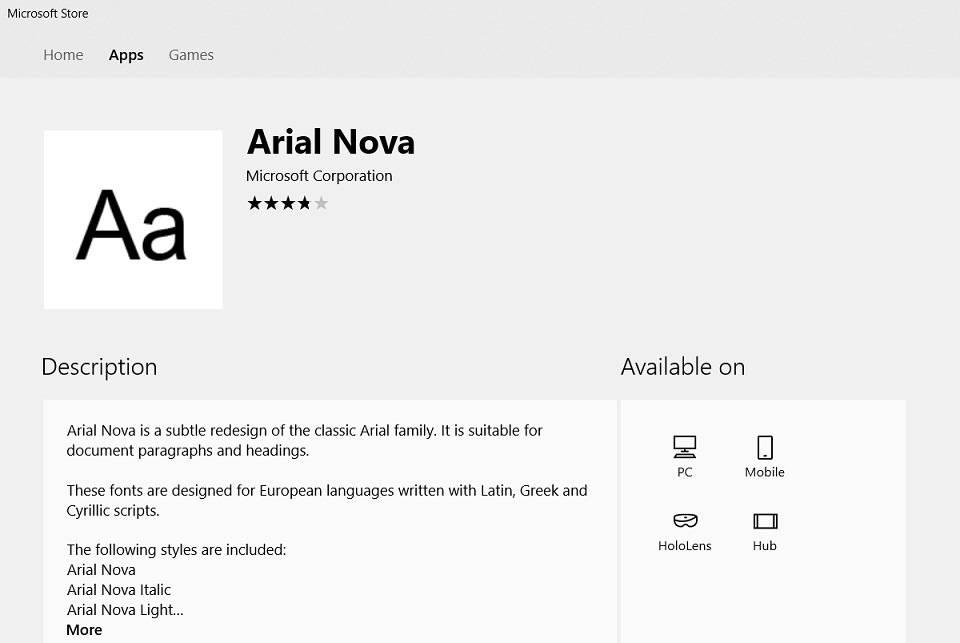 Arial Nova font