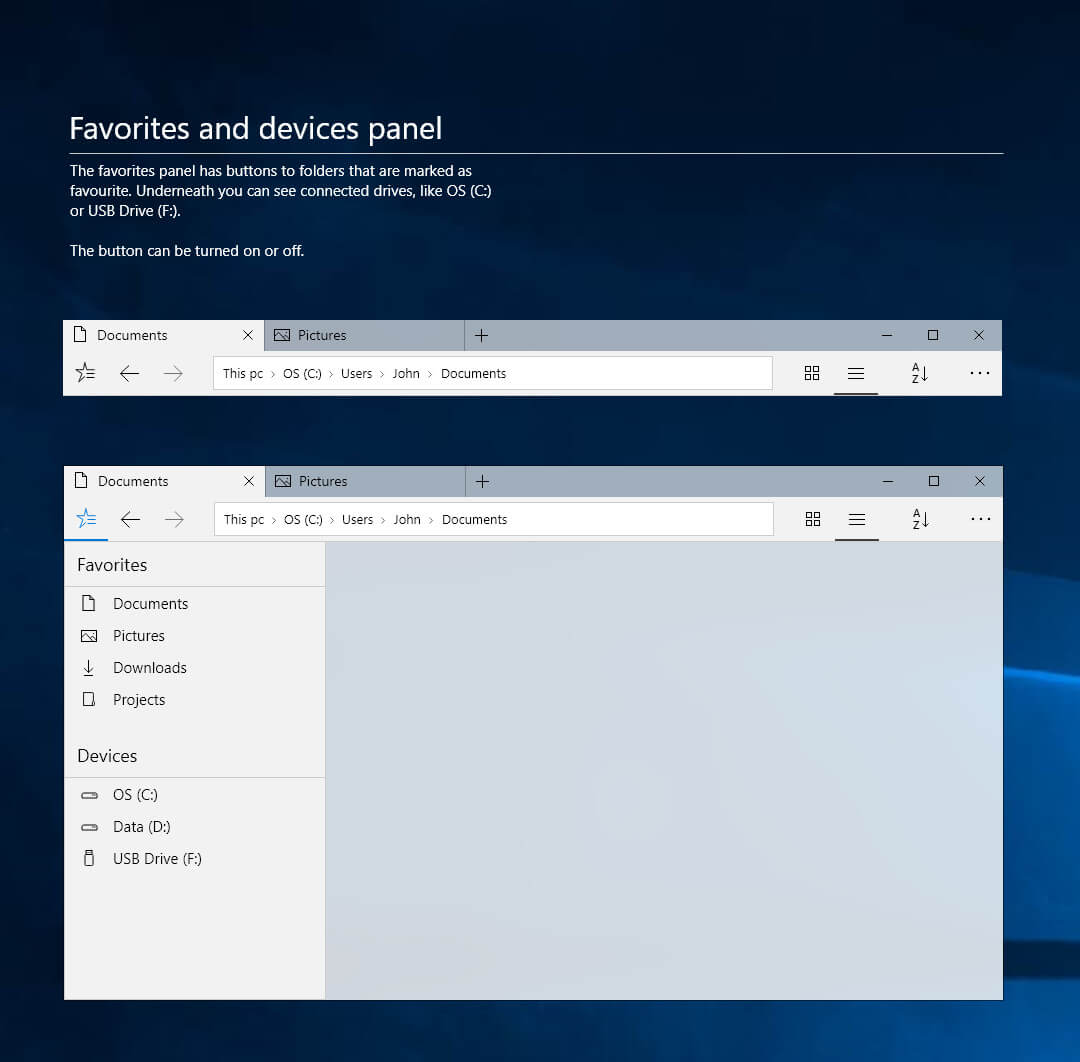 windows 10 file explorer revamped with fluent design in a