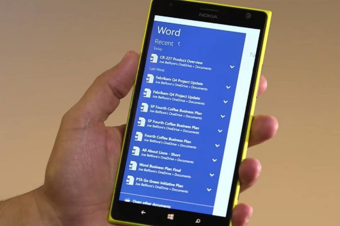 Windows 10 Mobile Office app