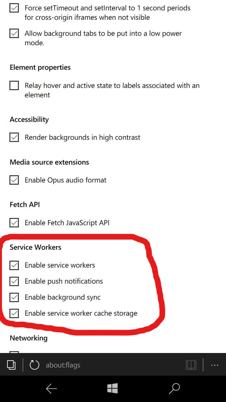 Edge flags- enabling PWA service