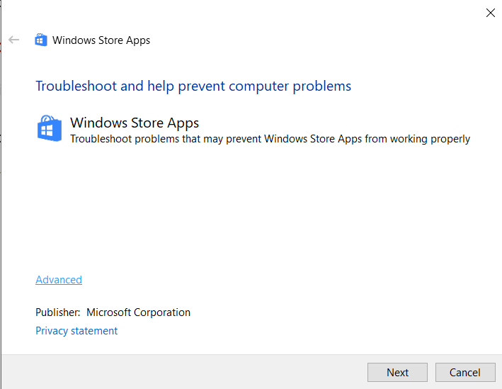 Windos Store Apps Troubleshooter