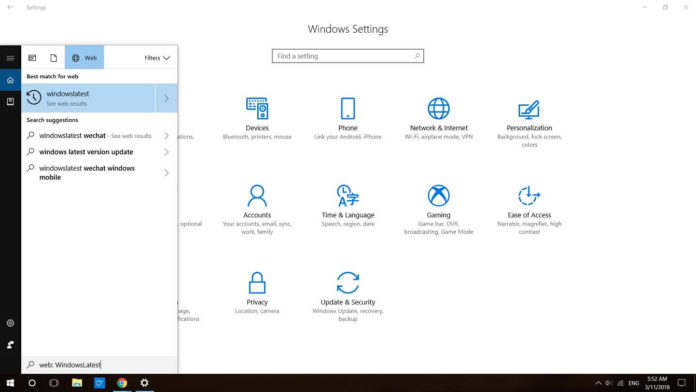 Windows 10 Search interface