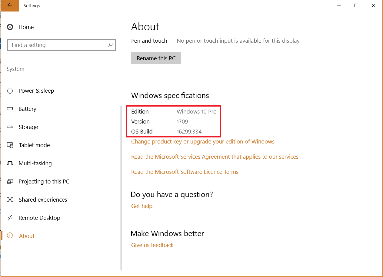 About section in Settings