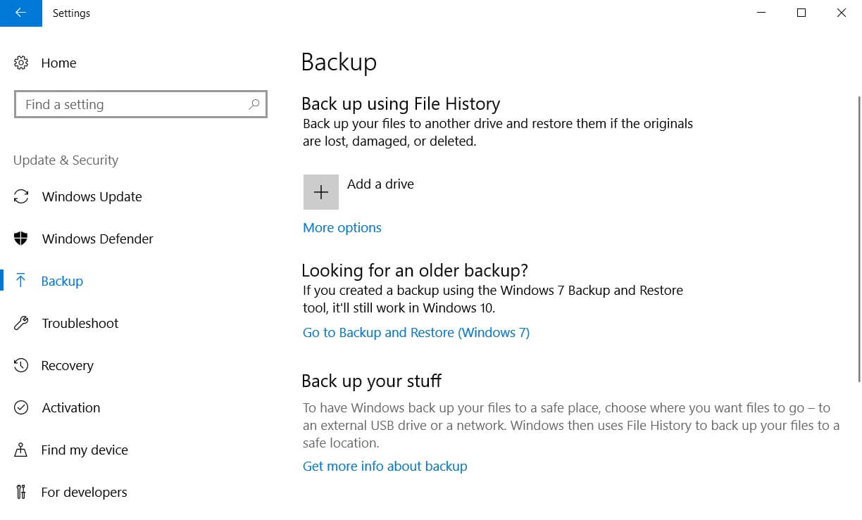 Backup in Windows 10