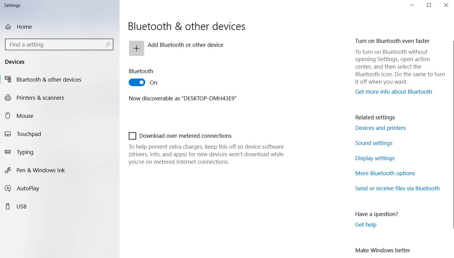 Bluetooth settings in Windows 10