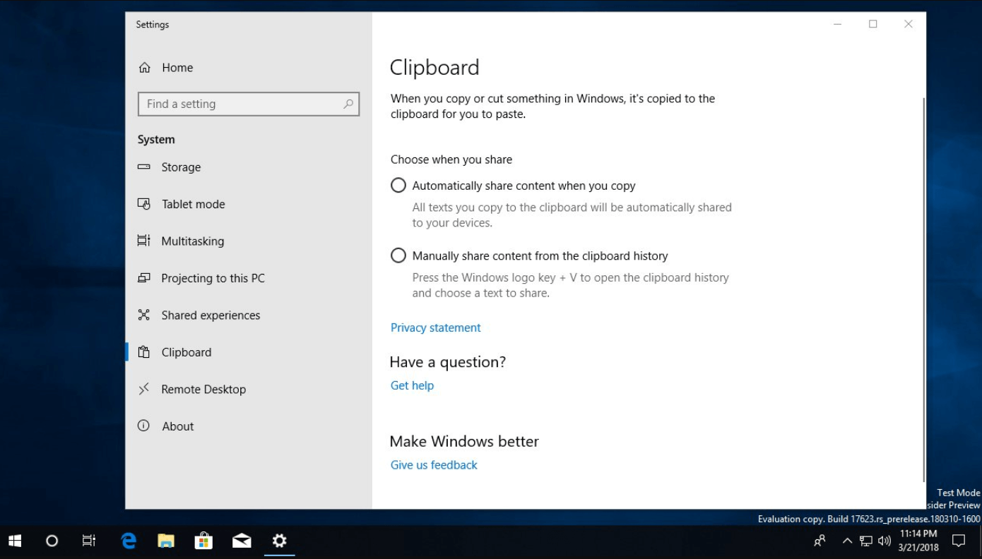 Cloud Clipboard Settings page