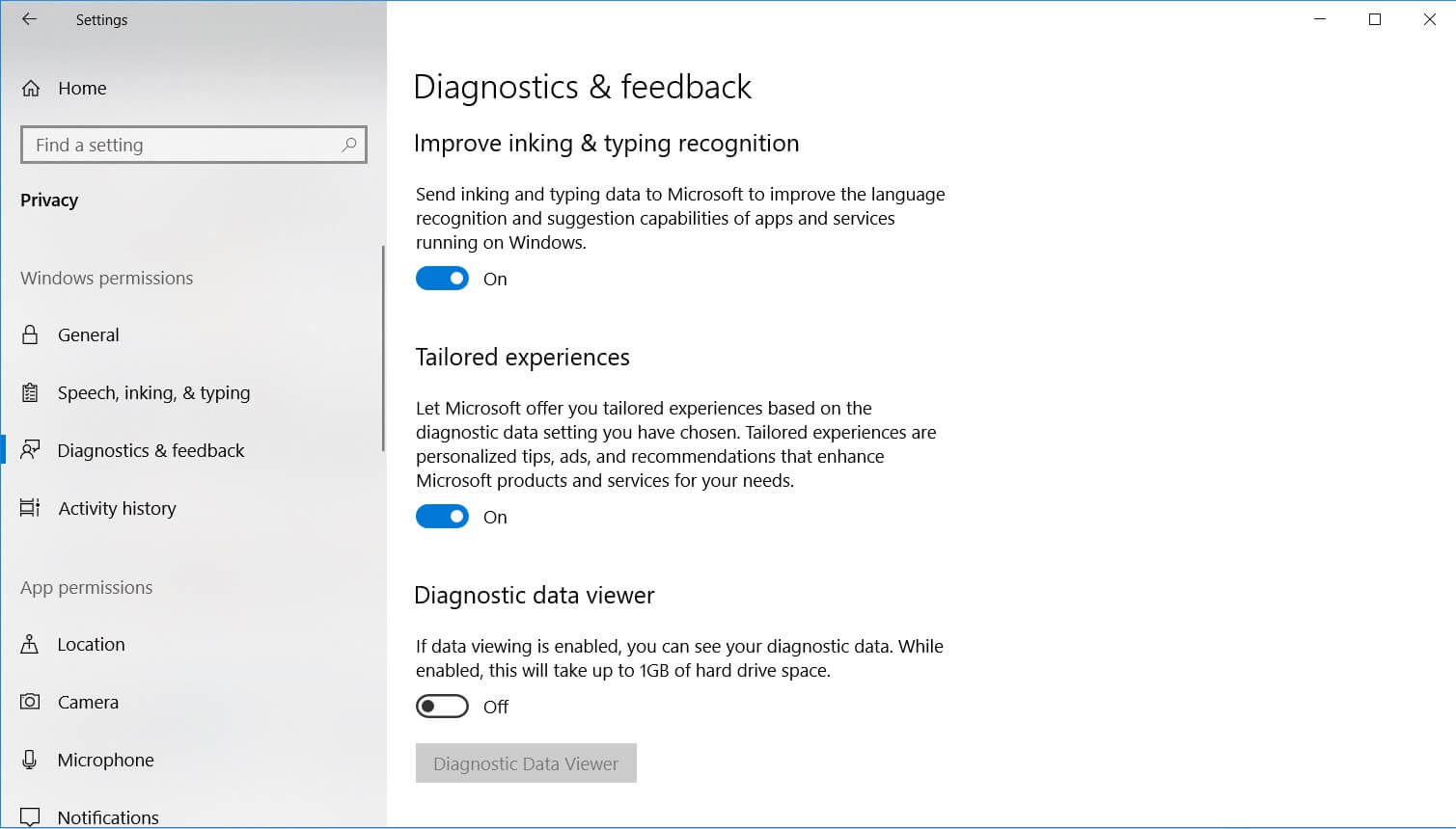 Diagnostics and Feedback in Windows 10