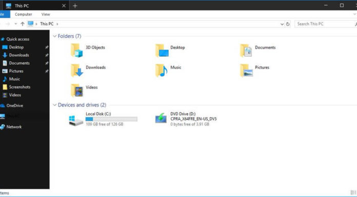 File Explorer with Dark Theme