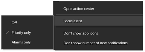 Focus Assist in Action Center
