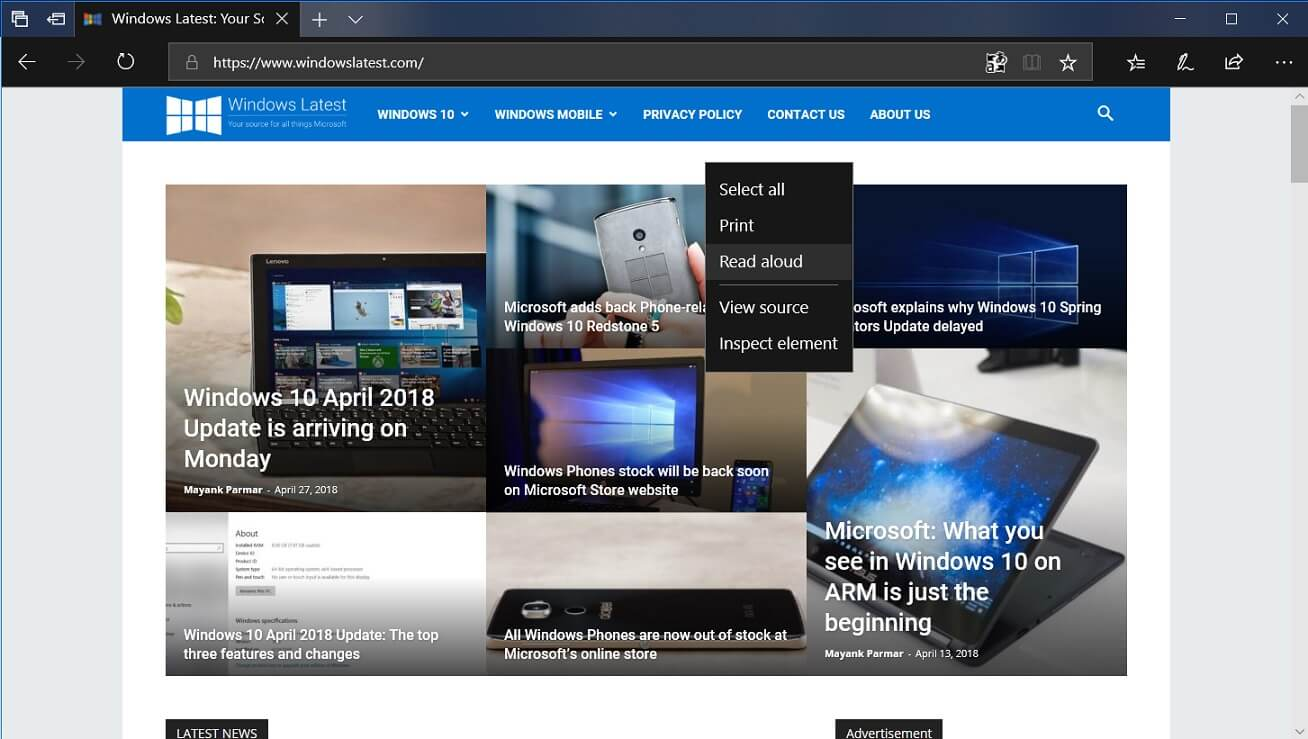 Microsoft Edge in Windows 10 April 2018 Update