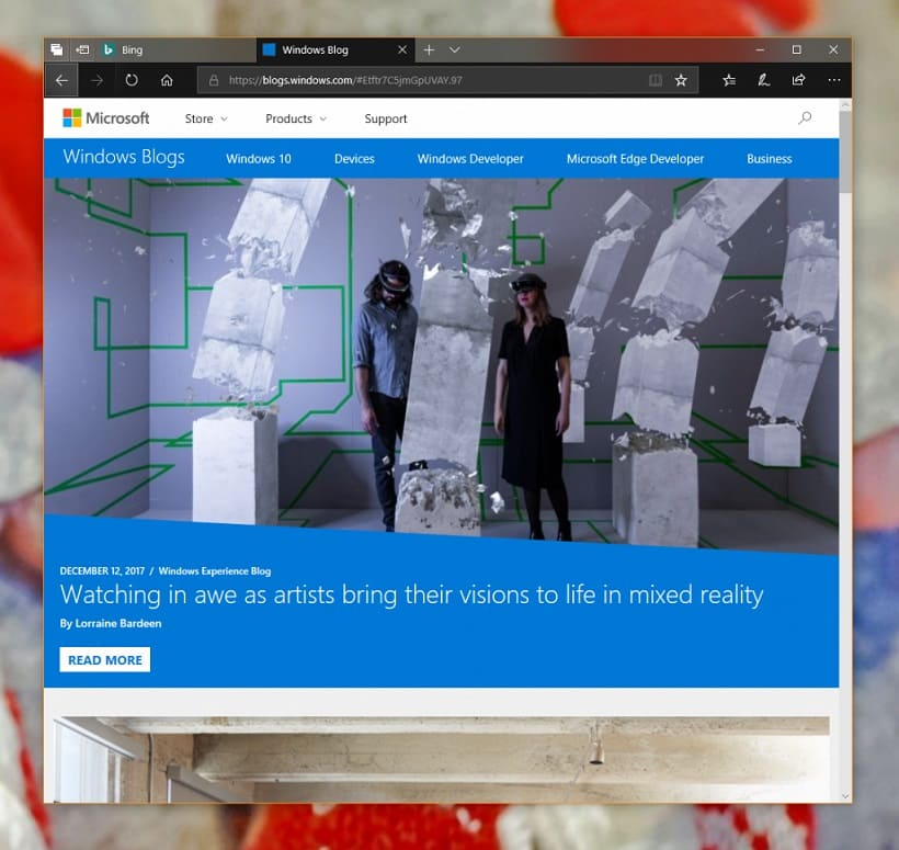 Microsoft Edge with Fluent Design