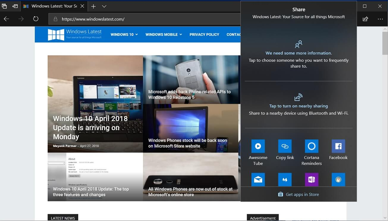 Near Share in Microsoft Edge