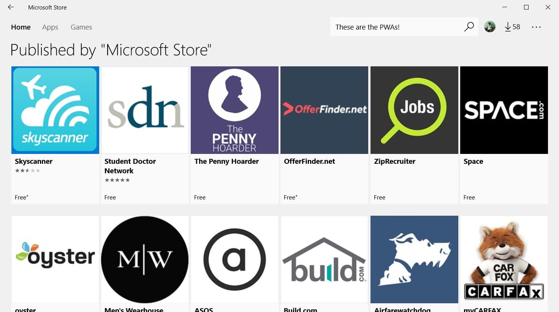 PWAs in Microsoft Store