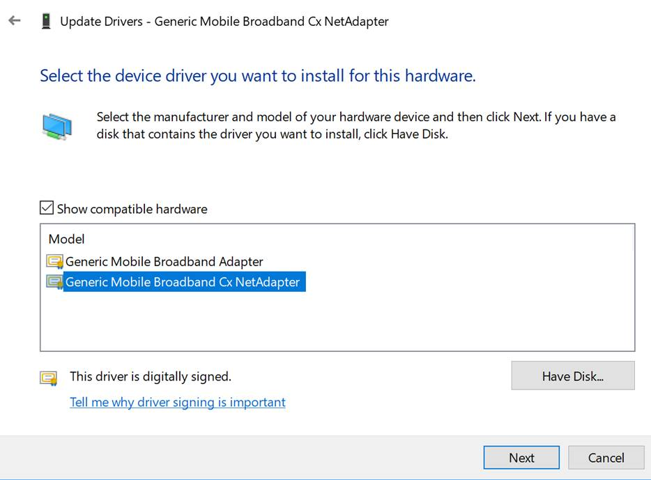 Select the driver you want to install for this hardware