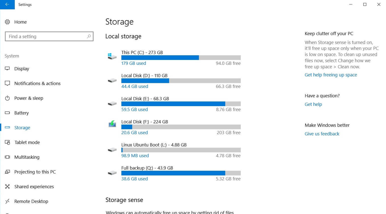 Storage in Windows 10