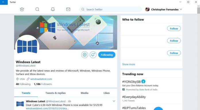 Twitter PWA for Windows 10