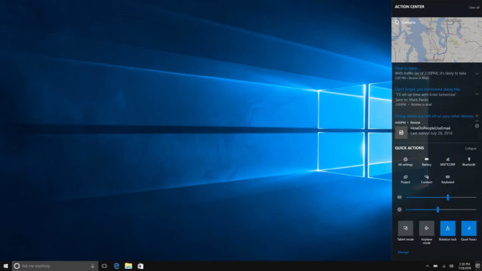 Windows 10 Fall Creators Update desktop