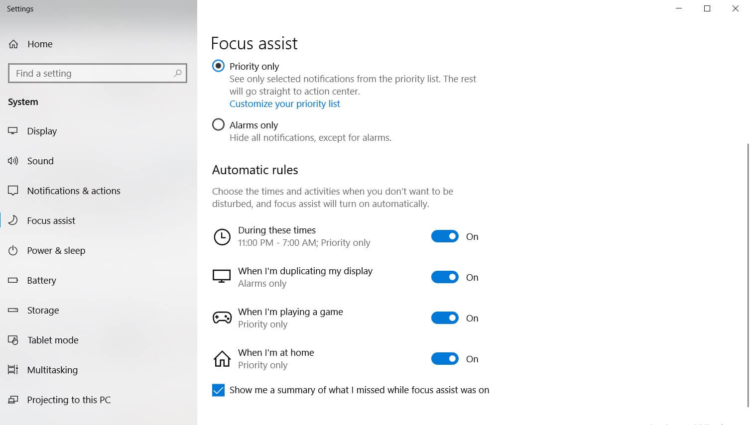 Windows 10 Focus Assist feature