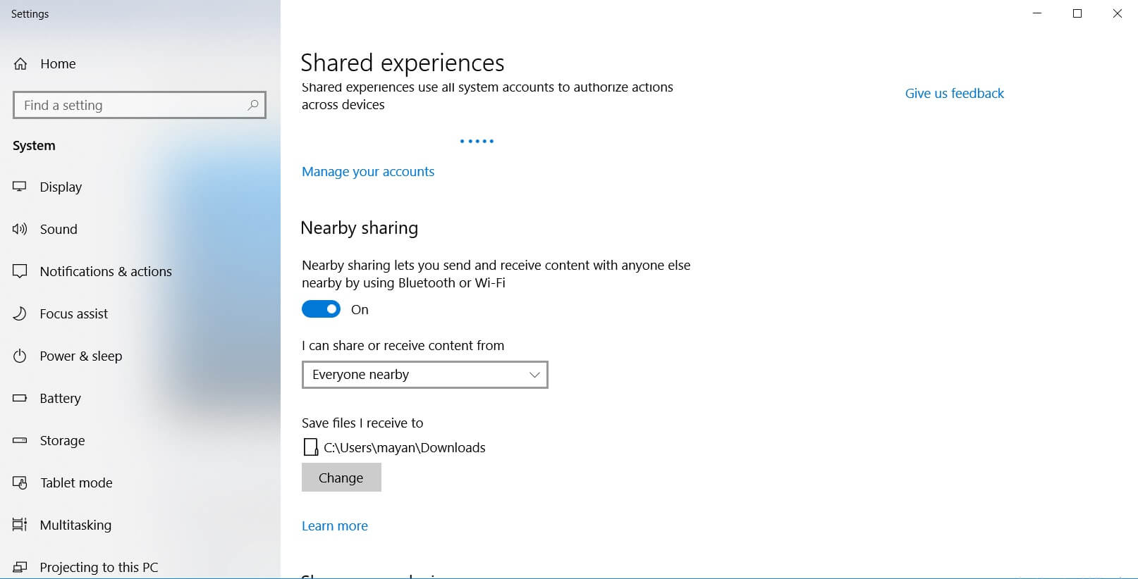 Windows 10 Nearby Feature