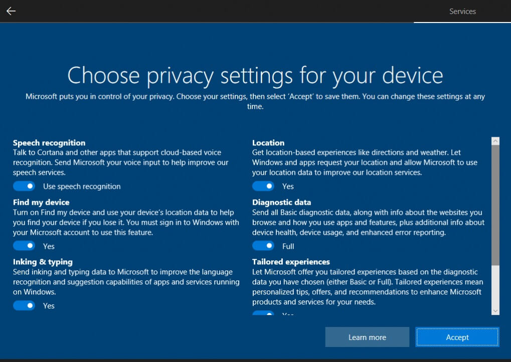 Windows 10 Privacy Setup Screen