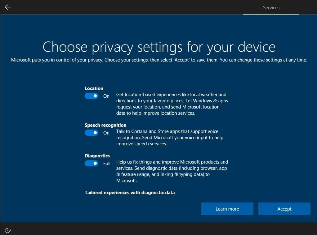 Windows 10 Privacy Setup screen (1)