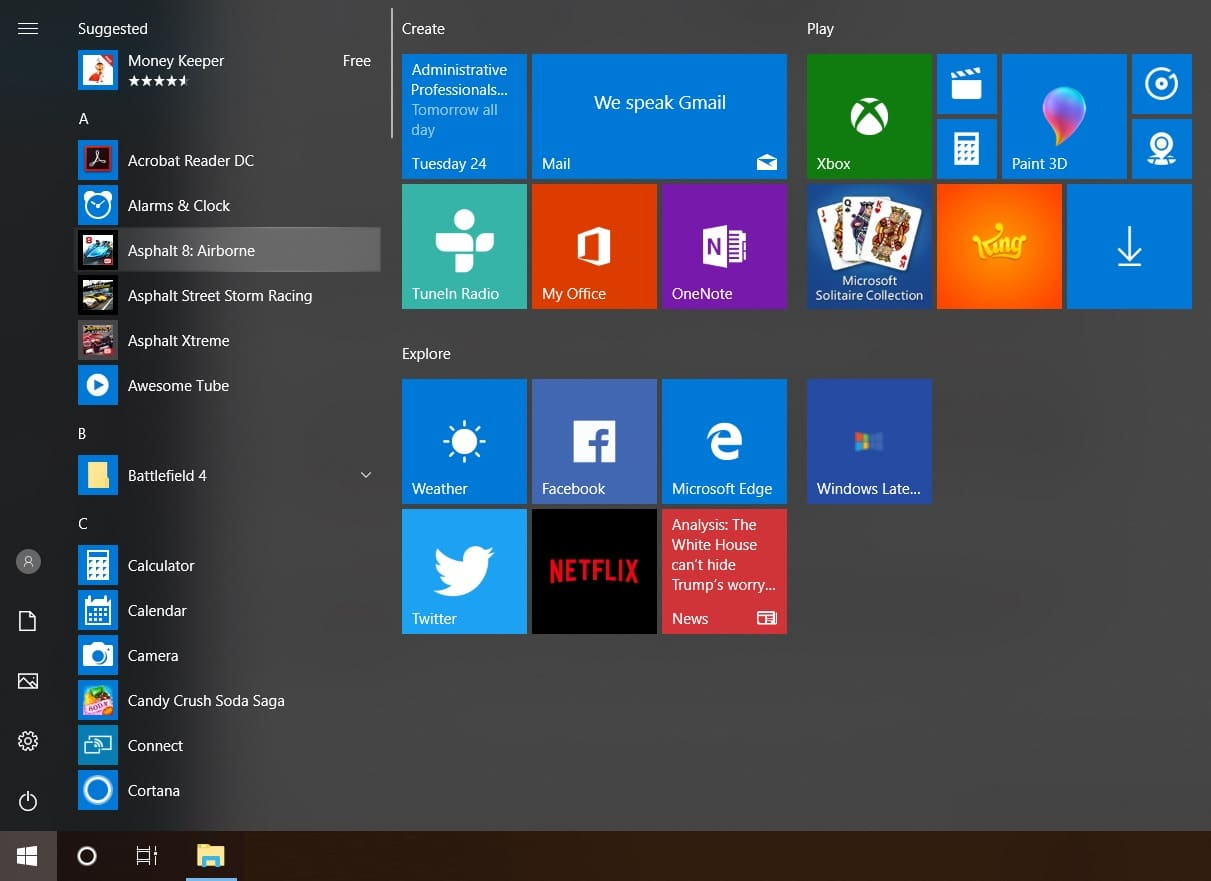 Windows 10 Start Menu with Fluent Design