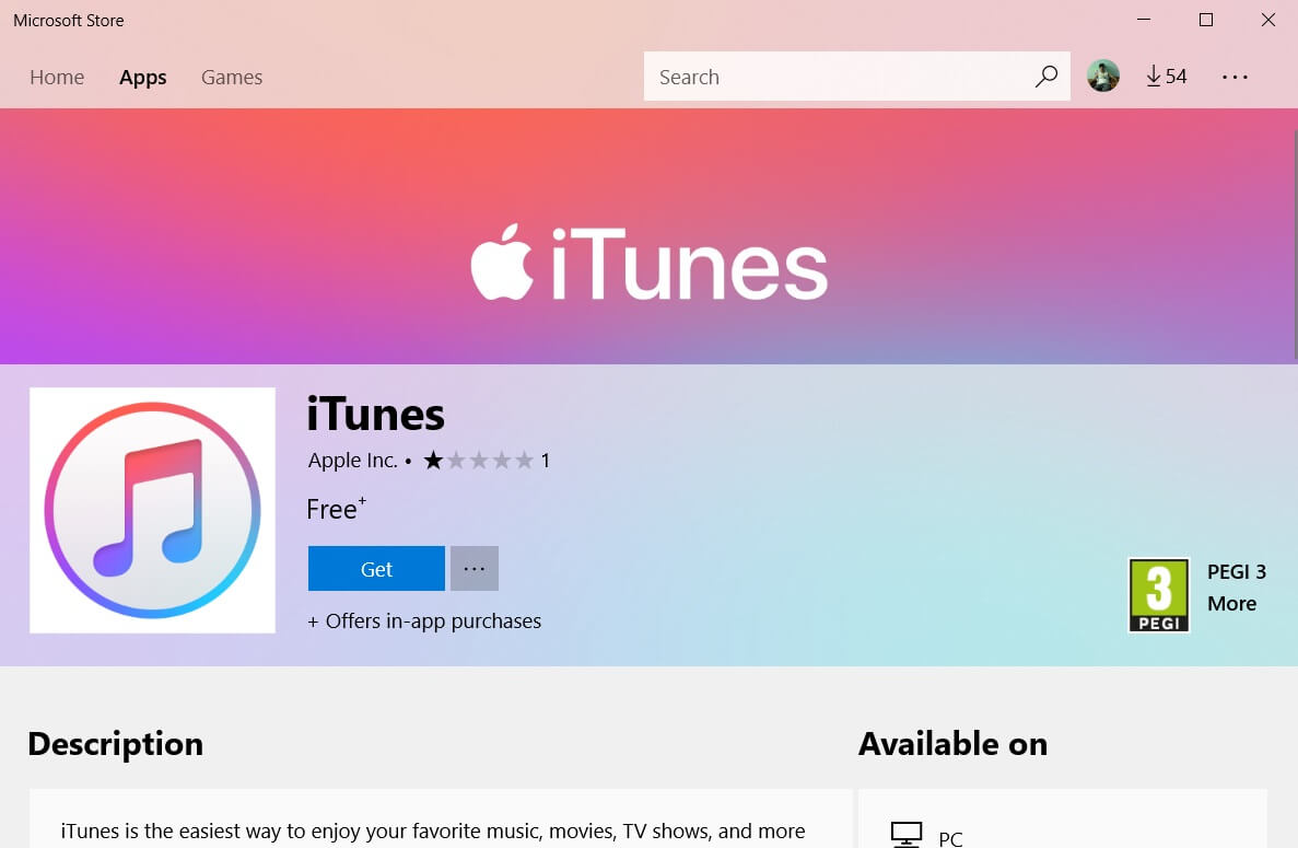 ITunes is now available in the Microsoft Store