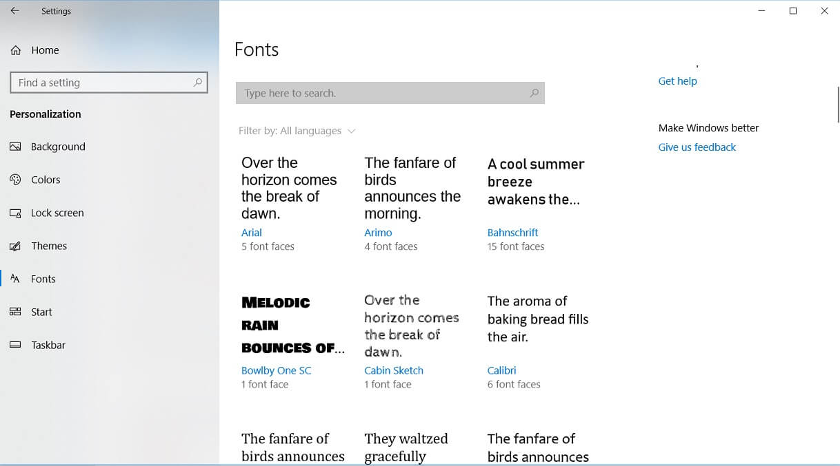 Fonts in Windows 10