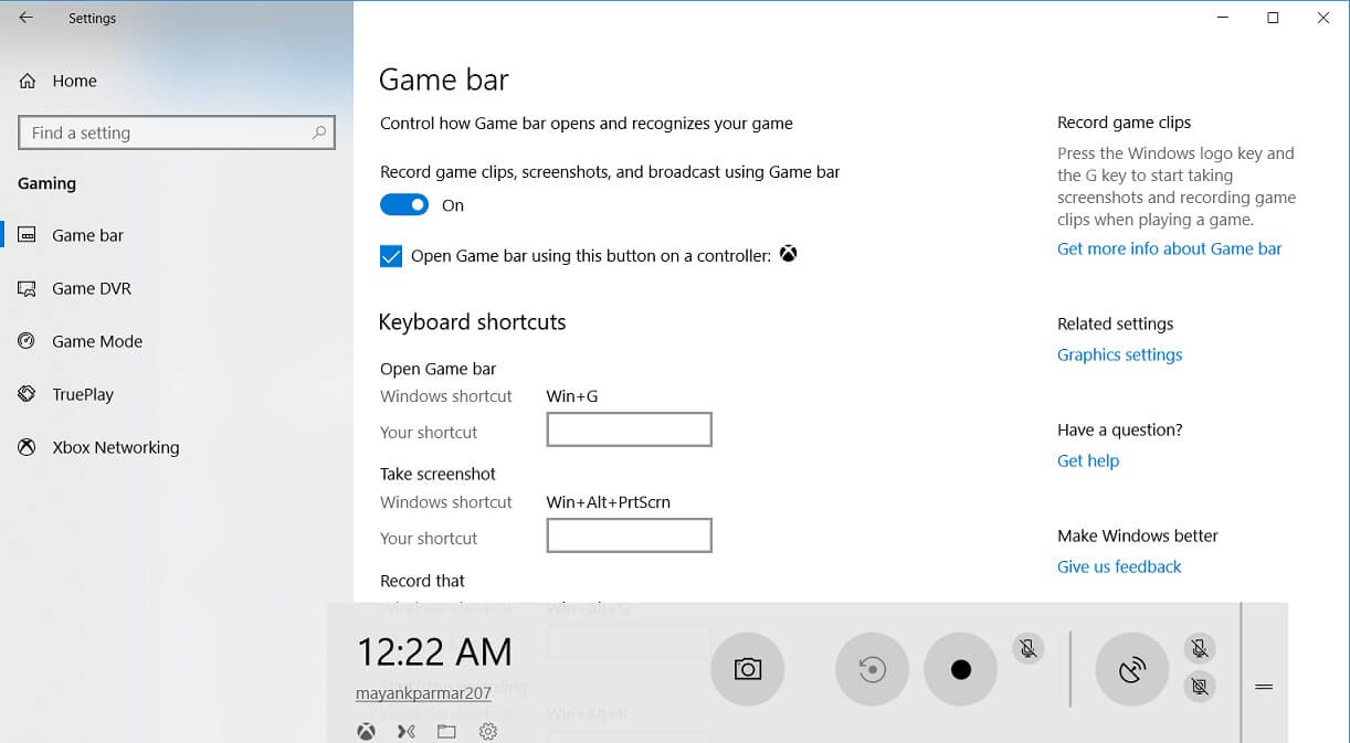 Game Bar in Windows 10