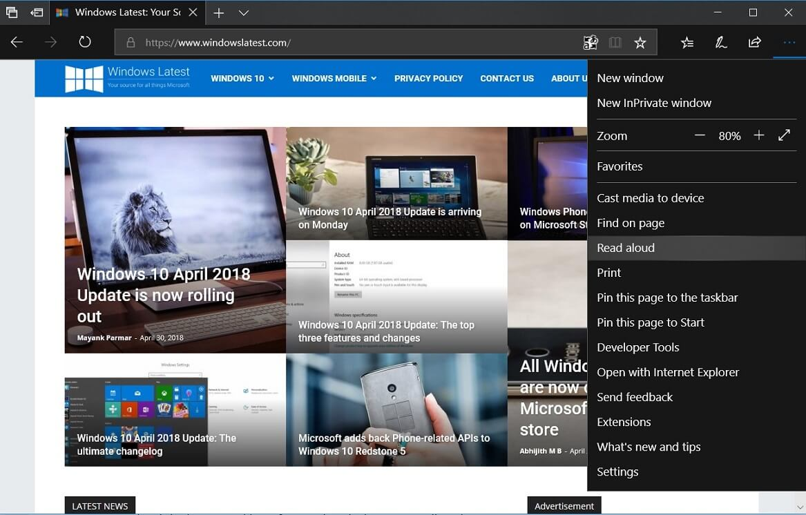 Microsoft Edge in Windows 10