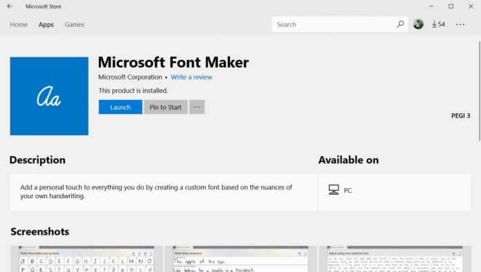 Microsoft Font Maker for Windows 10