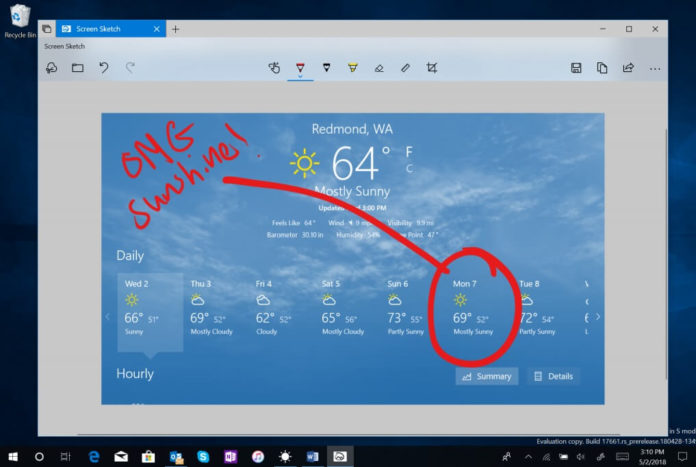 Screen snipping feature in Windows 10