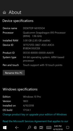 Settings in Lumia 950 XL with Windows 10 ARM