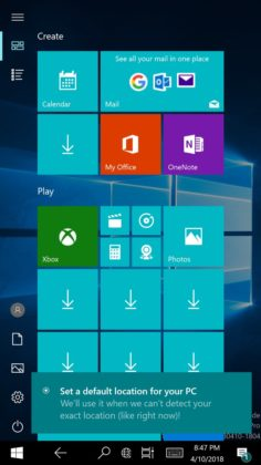 Start Menu in Lumia 950 XL with Windows 10 ARM