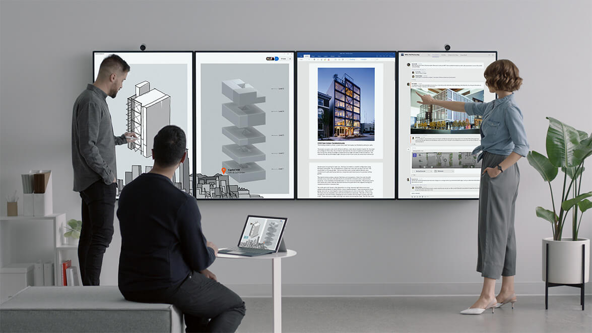 The Surface Hub 2 can 'tile' four units into one big display