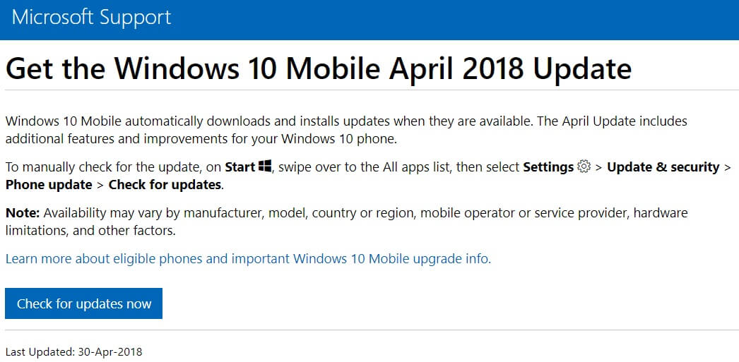 Windows 10 April 2018 Update support page