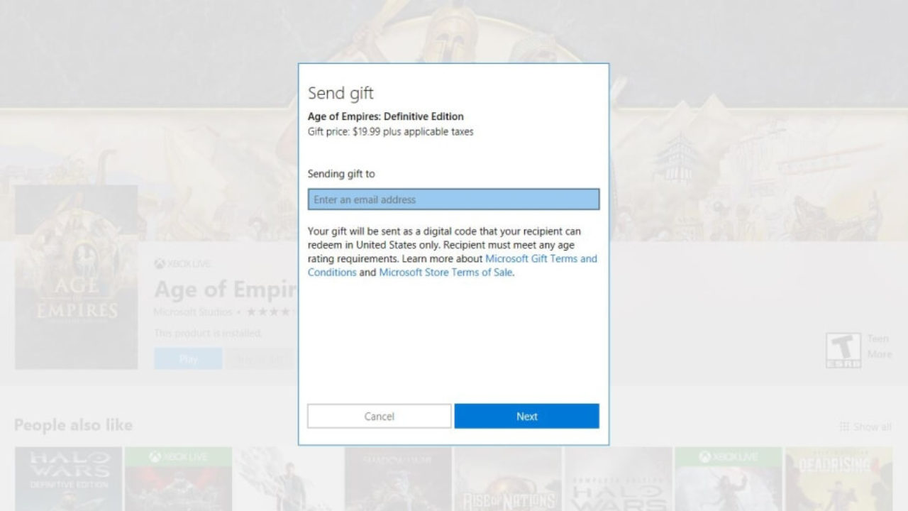 You can now purchase Windows 10 games as gifts from the